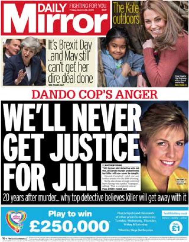 Daily Mirror front page, 29/3/19