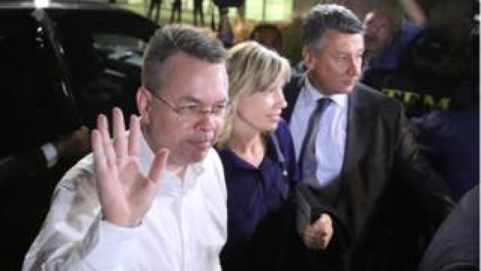 NEWS Mr Brunson and his wife at the airport in Izmir