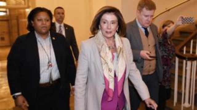 House Speaker Nancy Pelosi arrives at the US Capitol in Washington DC on 7 January