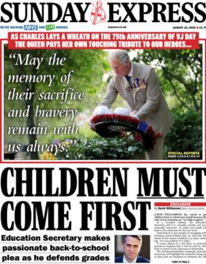 The front page of the Sunday Express August 16, 2020
