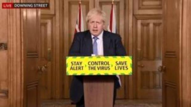Prime Minister Boris Johnson gives a coronavirus press conference at Downing Street