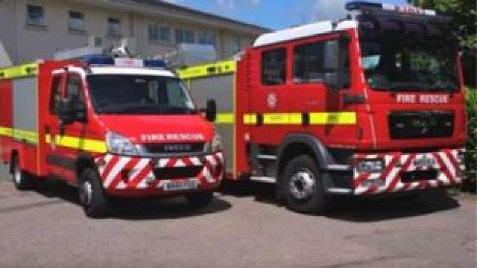 Devon and Somerset Fire and Rescue engines