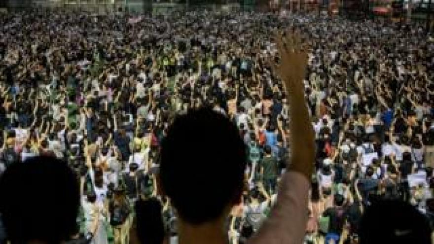 Large crowd of protesters in Hong Kong