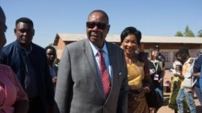 Malawi's president casts his ballot in his home town on May 21