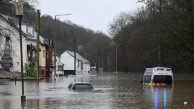 Ambulance submerged in flood water in Nantgarw