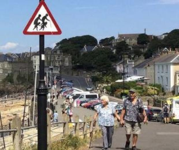 Banksy road sign in Clevedon