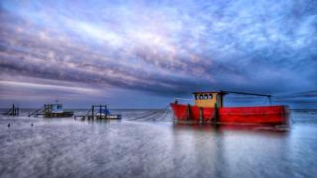 Old fishing boat 'Nautilus' shot on a long exposure at Thornham Staithe