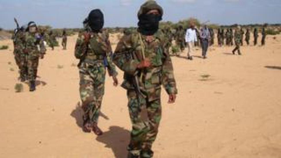 trump Somali Al-Shabab fighters gather on February 13, 2012 in Elasha Biyaha, in the Afgoei Corridor
