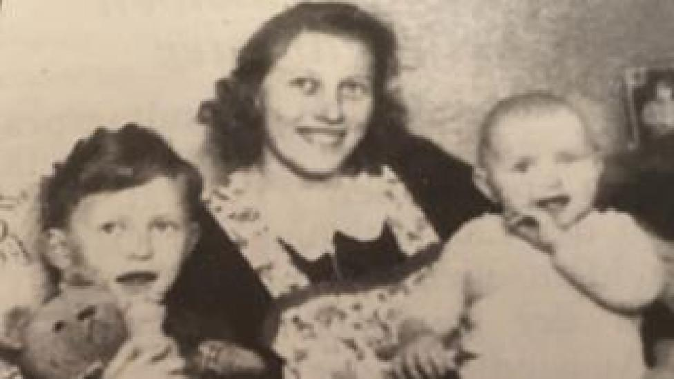 Christa Nolte as a baby with her mother and her brother