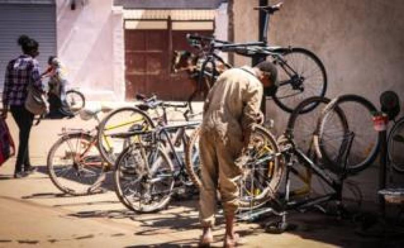 A bicycle repair stall in Asmara, Eritrea
