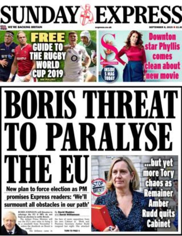 Sunday Express front page