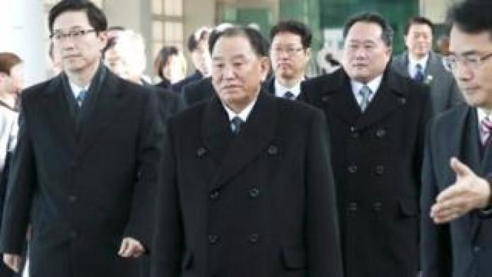 Gen Kim Yong-chol (centre) arrives in Paju, South Korea. Photo: 25 February 2018