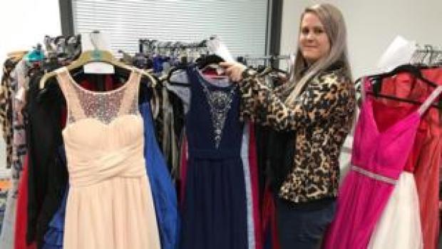 Jennie Bayliss with prom dresses