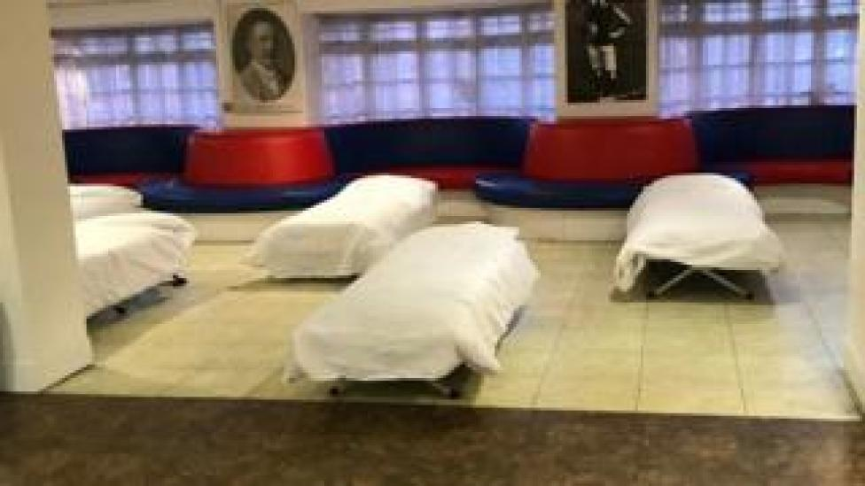 Camp beds set up at Crystal Palace's ground