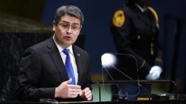 Honduras' President Juan Orlando Hernández addresses the United Nations General Assembly in New York on 25 September
