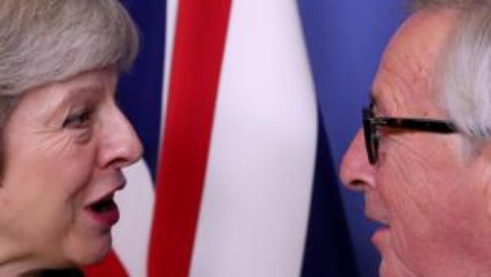 British Prime Minister Theresa May meets the President of the European Commission Jean-Claude Juncker to discuss Brexit at the EU headquarters in Brussels, Belgium, on December 11, 2018.