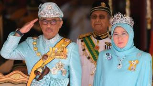 The Raja Permaisuri Agong, pictured with her husband, the sixth Sultan of Pahang, Al-Sultan Abdullah Ri'ayatuddin Al-Mustafa Billah Shah Ibni Sultan Ahmad Shah Al-Musta'in Billah