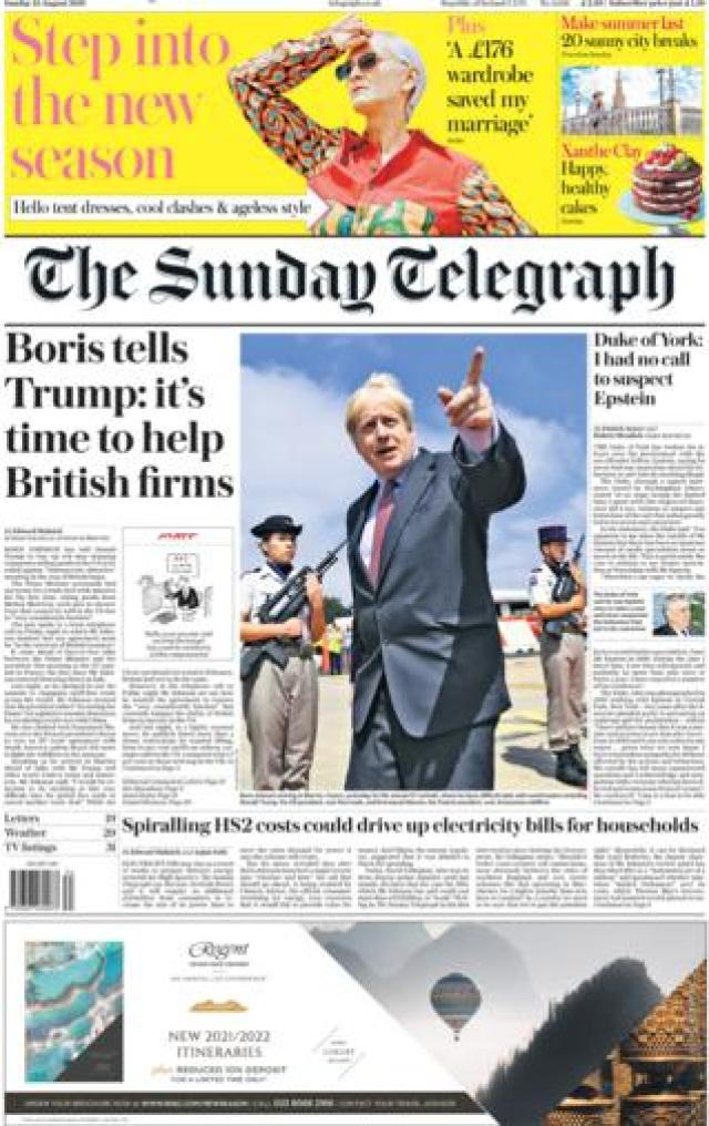 Sunday Telegraph front page, 25/8/19