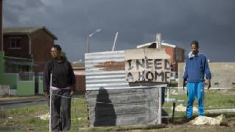 an informal house being built outside Cape Town