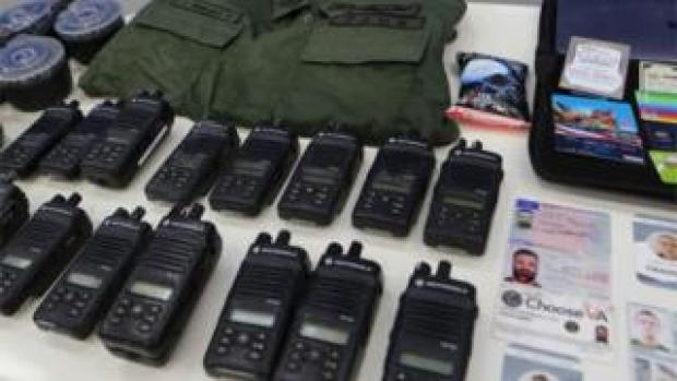 An official Venezuelan image showing equipment seized during an alleged incursion attempt, 6 May 2020