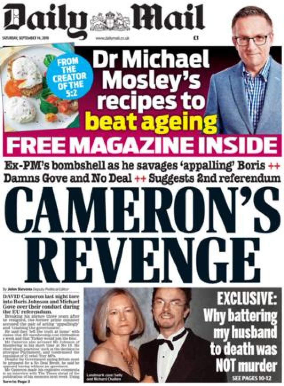 Front page of the Daily Mail on 14 September 2019