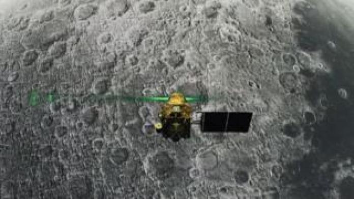 An image distributed by the ISRO agency during the descent of the Vikram ship to the Moon
