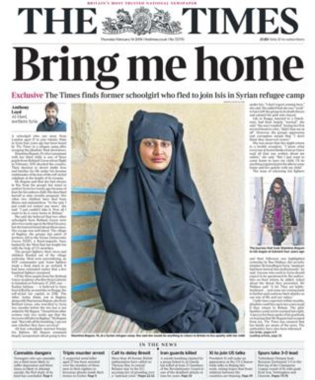 The Times front page 14/02/19