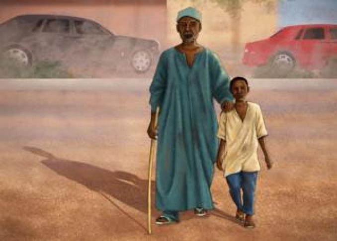 Illustration showing Samuel Abdulraheem as a boy guiding a blind beggar