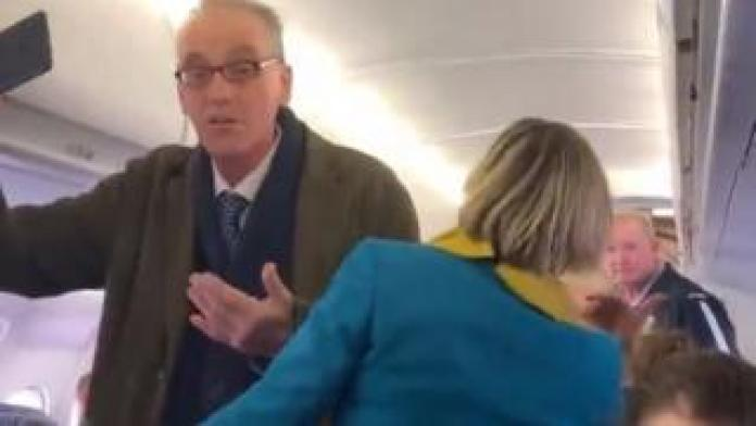 A man disrupts a flight about to take off from London City Airport