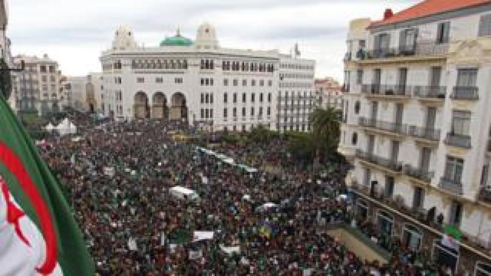 Algerians take part in a demonstration against ailing President Abdelaziz Bouteflika on March 22, 2019, in the capital Algiers.