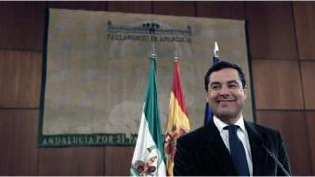PP candidate Juanma Moreno delivers a speech at Andalusia's Parliament in Seville, 09 January