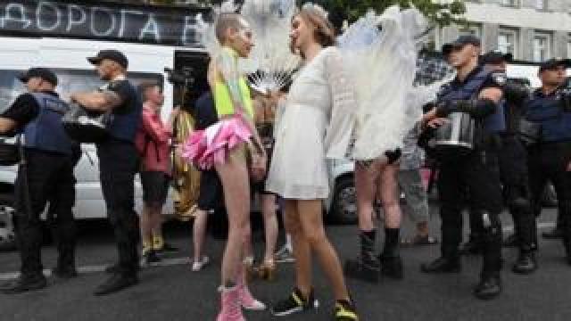 A couple at Kiev Pride