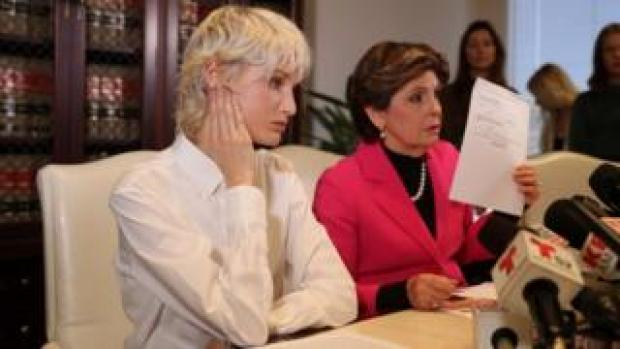 """Jane Doe 15"", left, gave a press conference with lawyer Gloria Allred"