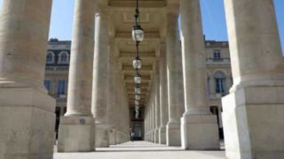 A colonnade in the garden of the Palais-Royal, Paris
