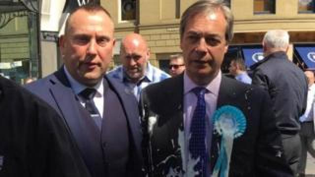 Nigel Farage hit by milkshake in Newcastle