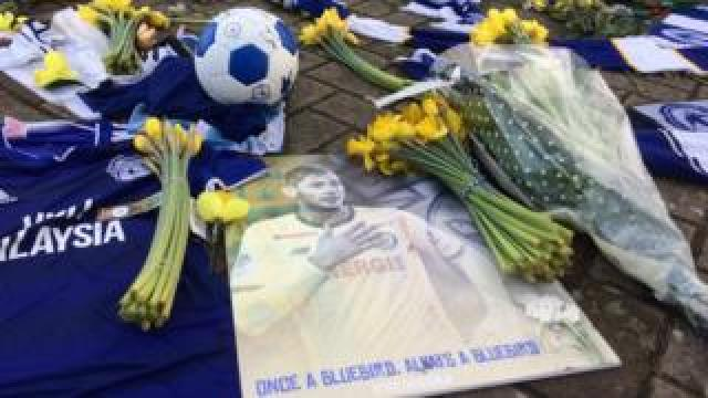 Tributes on the ground outside Cardiff City Stadium