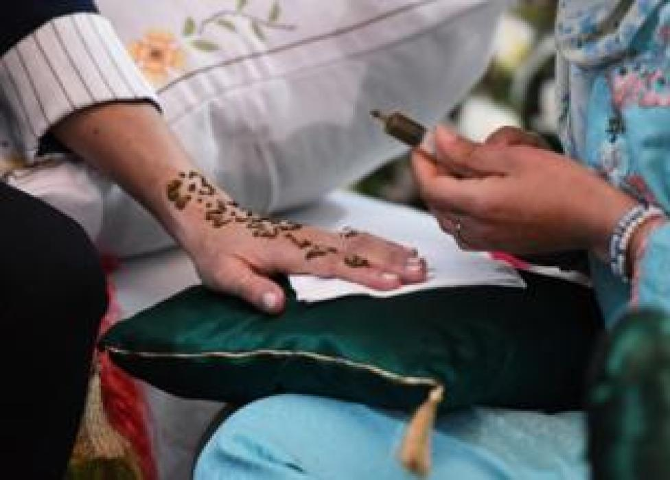 Duchess of Sussex getting henna tattoo