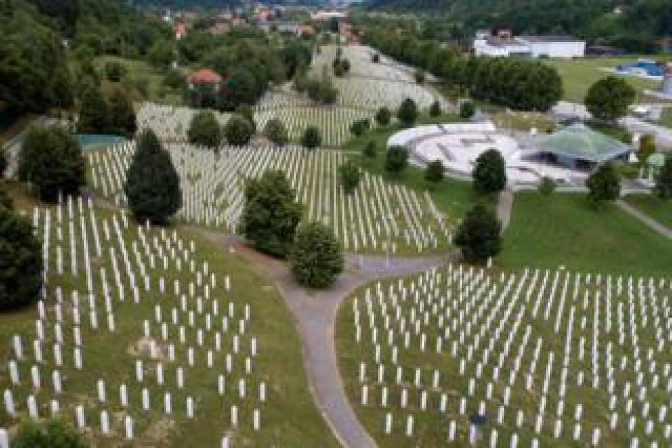 An aerial view of the Memorial Center in Potocari near Srebrenica, Bosnia and Herzegovina, 6 July 2020