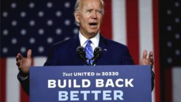 "Democratic presidential candidate and former Vice-President Joe Biden speaks at a ""Build Back Better"" Clean Energy event in Delaware, 14 July 2020"
