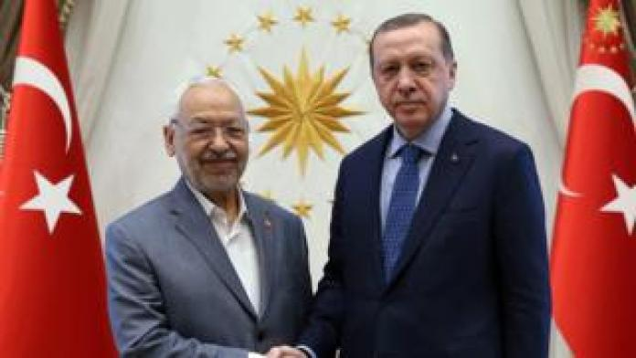 Turkish President Tayyip Recep Erdogan meets with the President of the Tunisian Parliament and the leader of the Ennahda movement, Rashid Ghannouchi