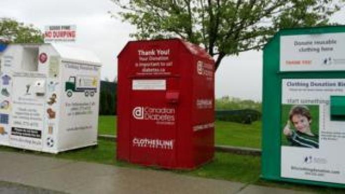 Clothing donation bins
