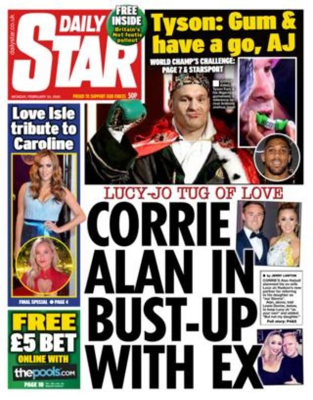Front page of the Daily Star