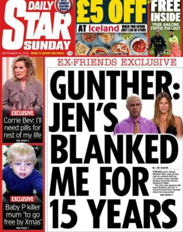 The Daily Star on Sunday's front page September 29