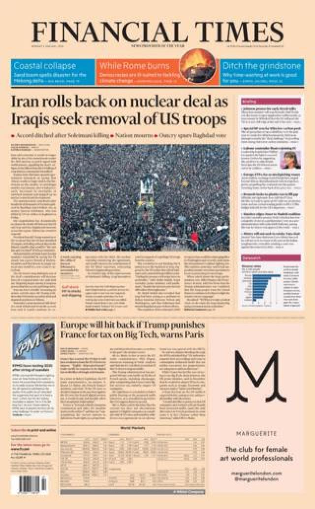 FT front page6 January 2020