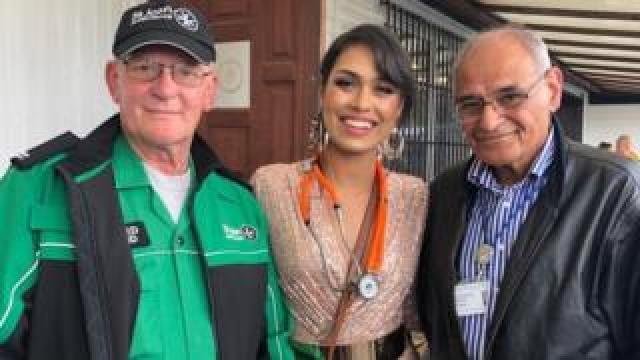 A first-aider from St John's Ambulance, Miss England, Dr Bhasha Mukherjee and Prof Rashid Gatrad