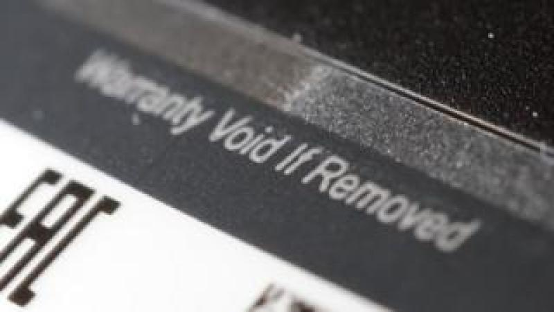 """Warranty void"" stickers appear on many gadgets"