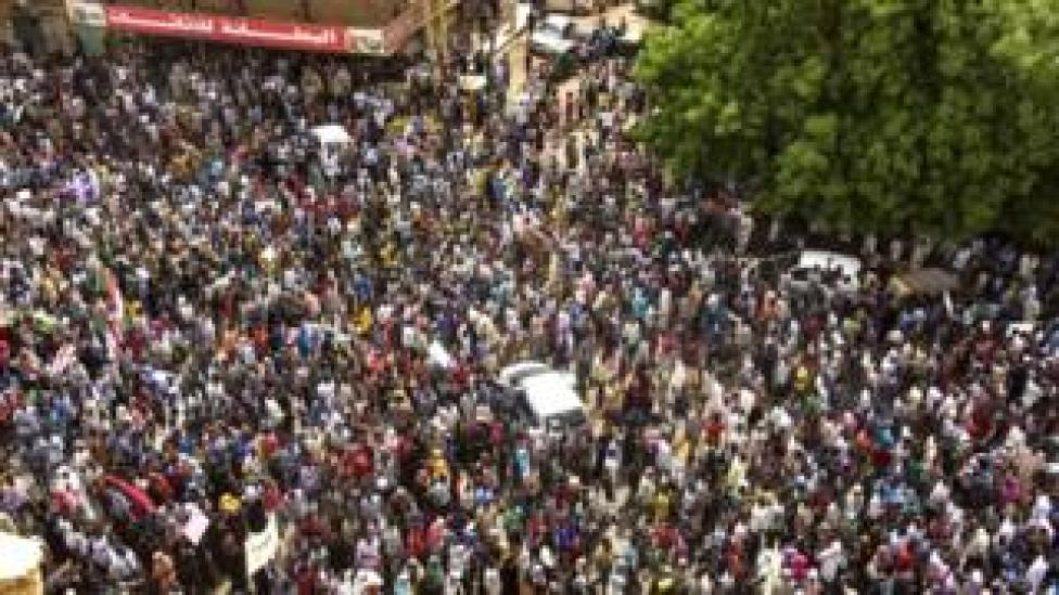Sudanese protesters march in a mass demonstration against the country's ruling generals in the capital Khartoum's twin city of Omdurman on June 30, 2019.