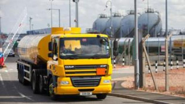 Tanker leaves refinery