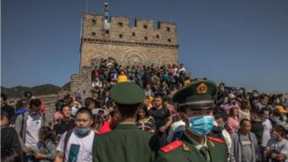 Crowds of people on the Great Wall of China