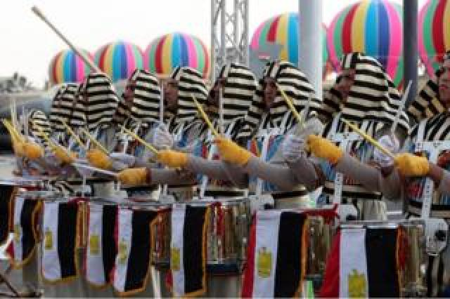 An Egyptian army band performs during the EDEX Egypt Defence Exhibition 2018, at new Cairo, Egypt - Monday 3 December 2018